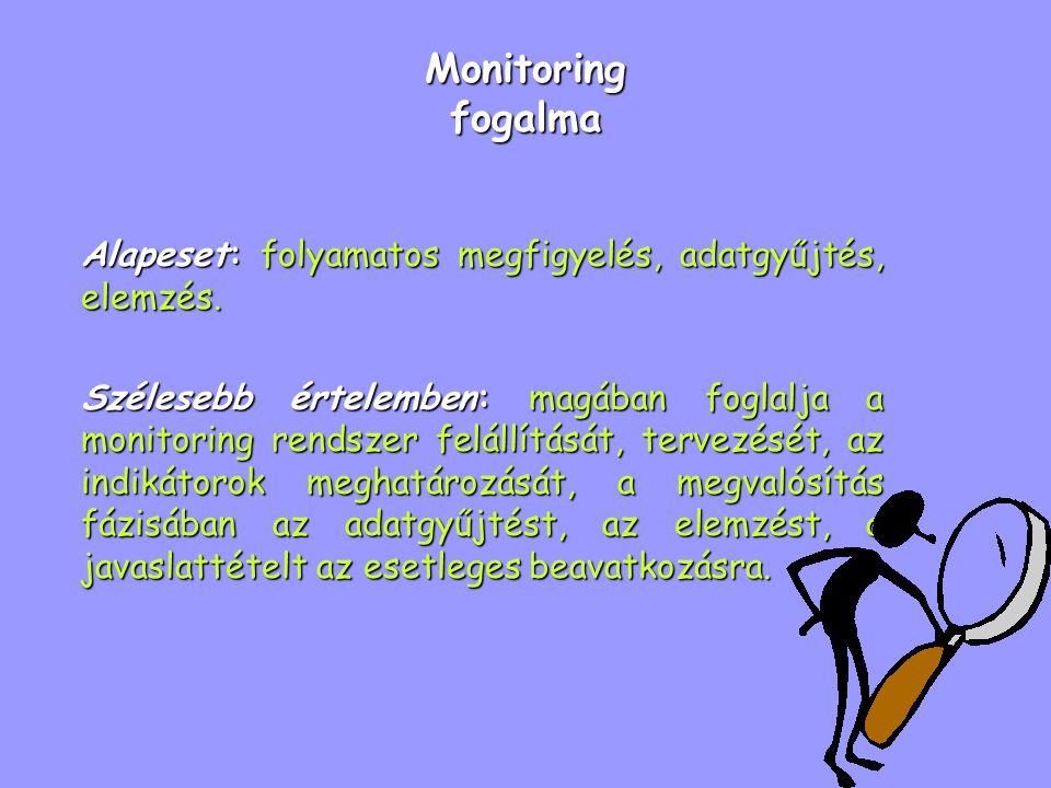Monitoring fogalma Alapeset: folyamatos megfigyelés, adatgyűjtés, elemzés. Szélesebb értelemben: magában foglalja a monitoring rendszer felállítását,