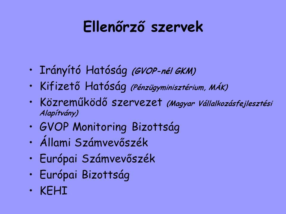 Ellenőrző szervek •Irányító Hatóság (GVOP-nél GKM) •Kifizető Hatóság (Pénzügyminisztérium, MÁK) •Közreműködő szervezet (Magyar Vállalkozásfejlesztési
