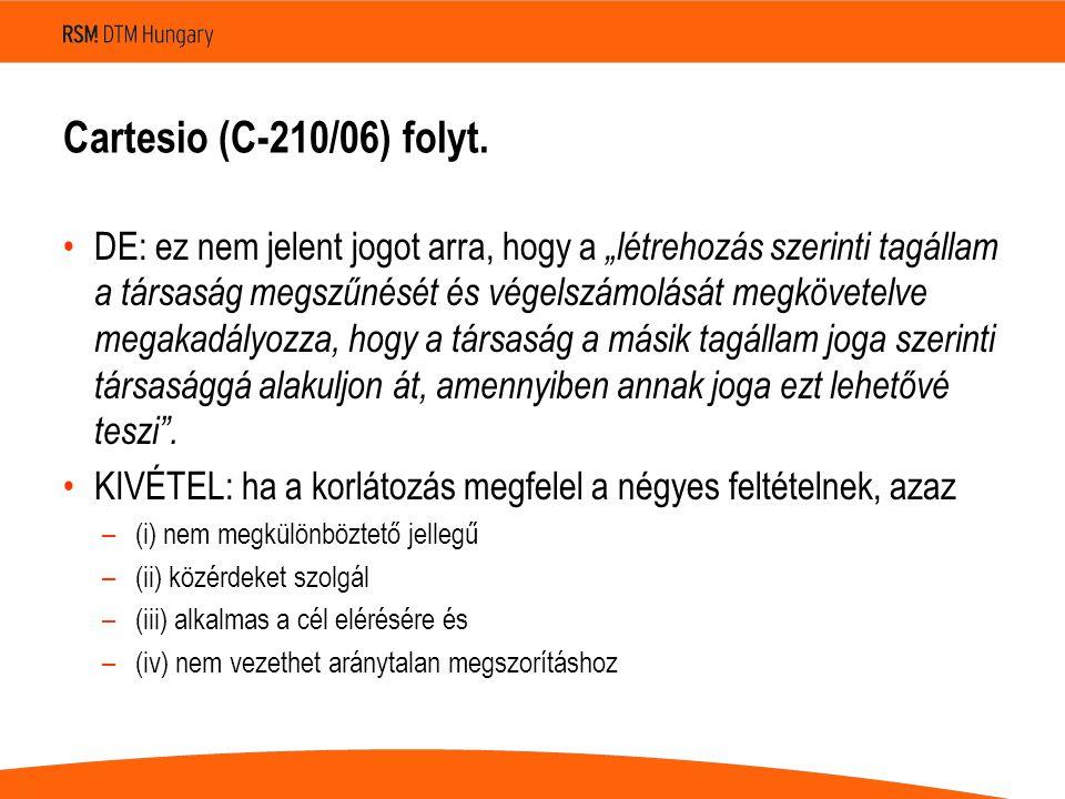 Cartesio (C ‑ 210/06) folyt.