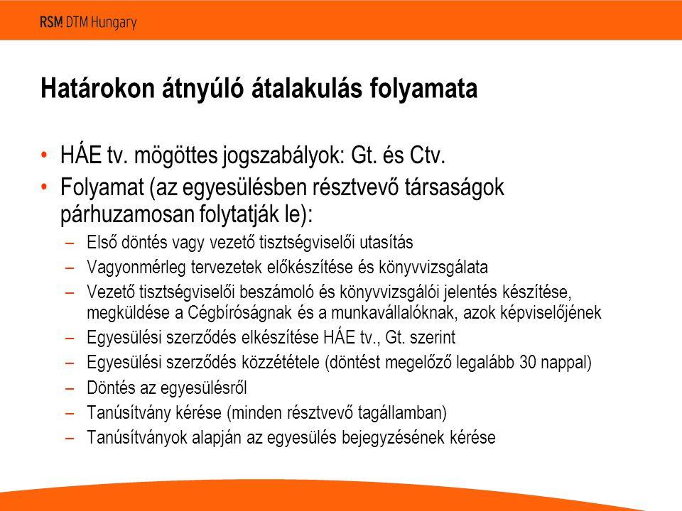Határokon átnyúló átalakulás folyamata •HÁE tv. mögöttes jogszabályok: Gt.