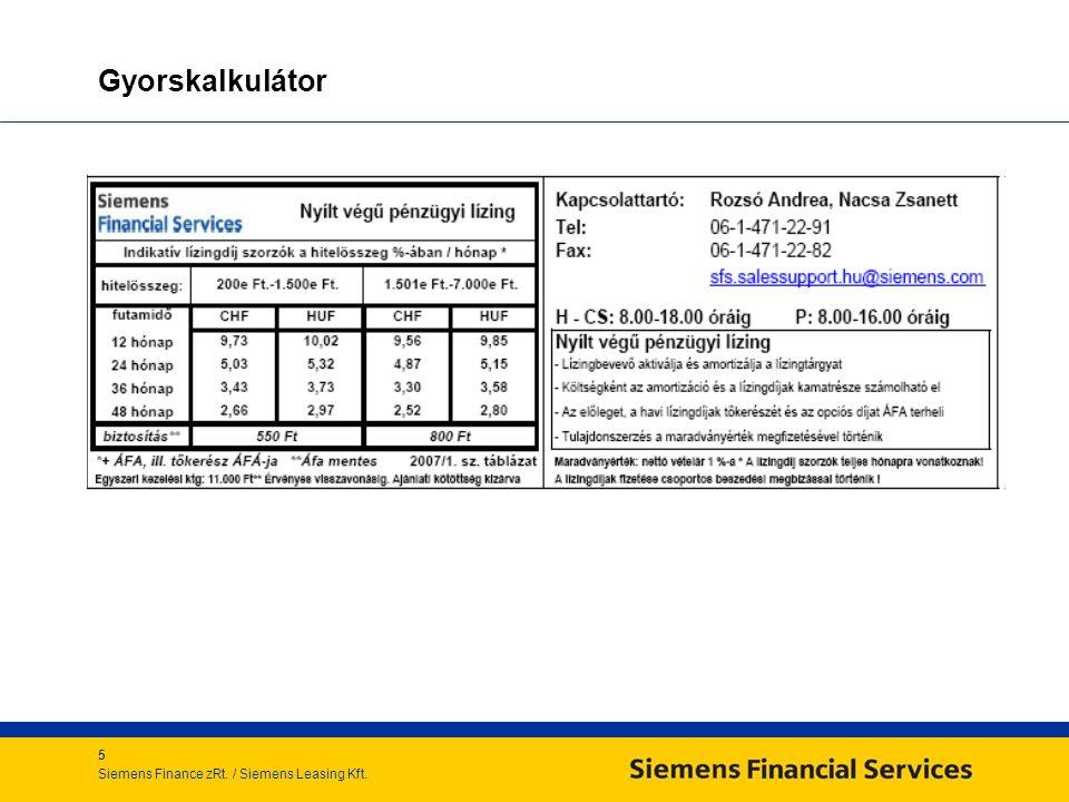 5 Siemens Finance zRt. / Siemens Leasing Kft. Gyorskalkulátor