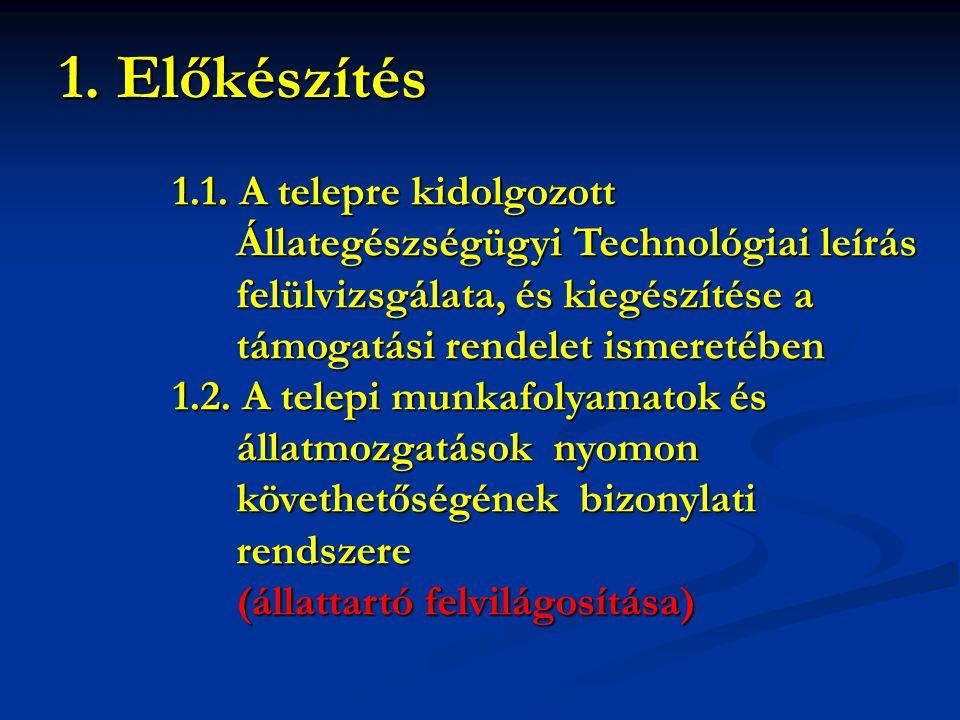 1.1. A telepre kidolgozott Állategészségügyi Technológiai leírás Állategészségügyi Technológiai leírás felülvizsgálata, és kiegészítése a felülvizsgál