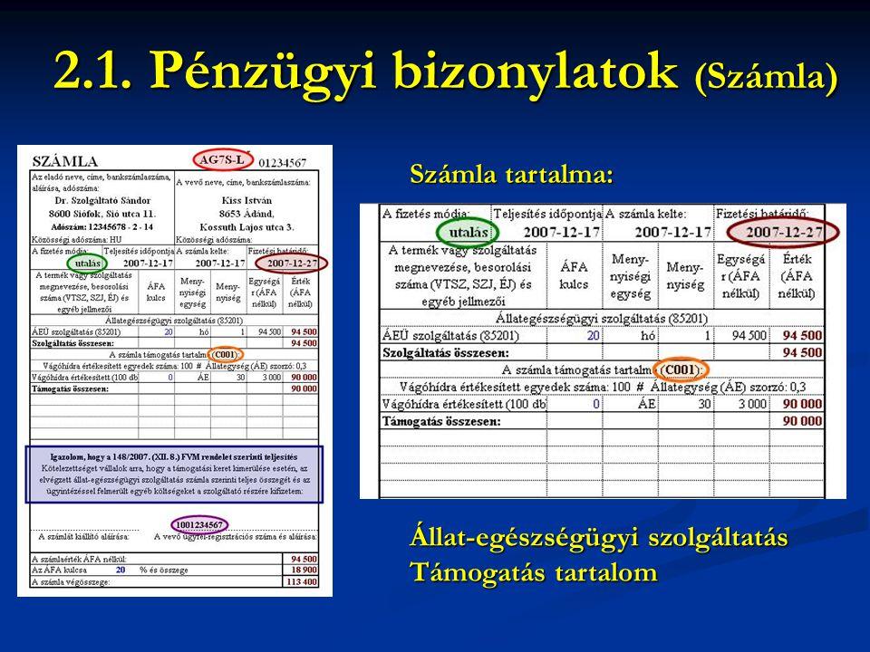 Számla tartalma: 2.1. Pénzügyi bizonylatok (Számla) Állat-egészségügyi szolgáltatás Támogatás tartalom