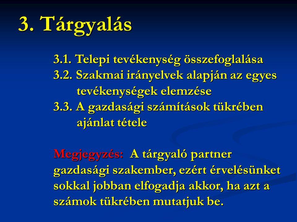 3.1. Telepi tevékenység összefoglalása 3.2. Szakmai irányelvek alapján az egyes tevékenységek elemzése tevékenységek elemzése 3.3. A gazdasági számítá