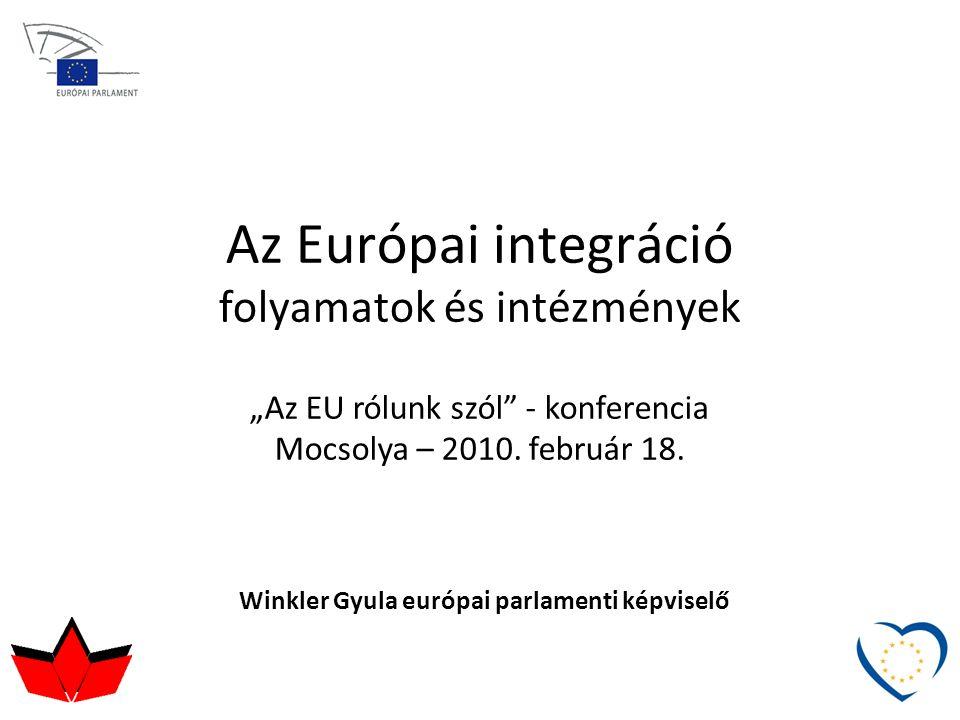 """Az Európai integráció folyamatok és intézmények Winkler Gyula európai parlamenti képviselő """"Az EU rólunk szól"""" - konferencia Mocsolya – 2010. február"""