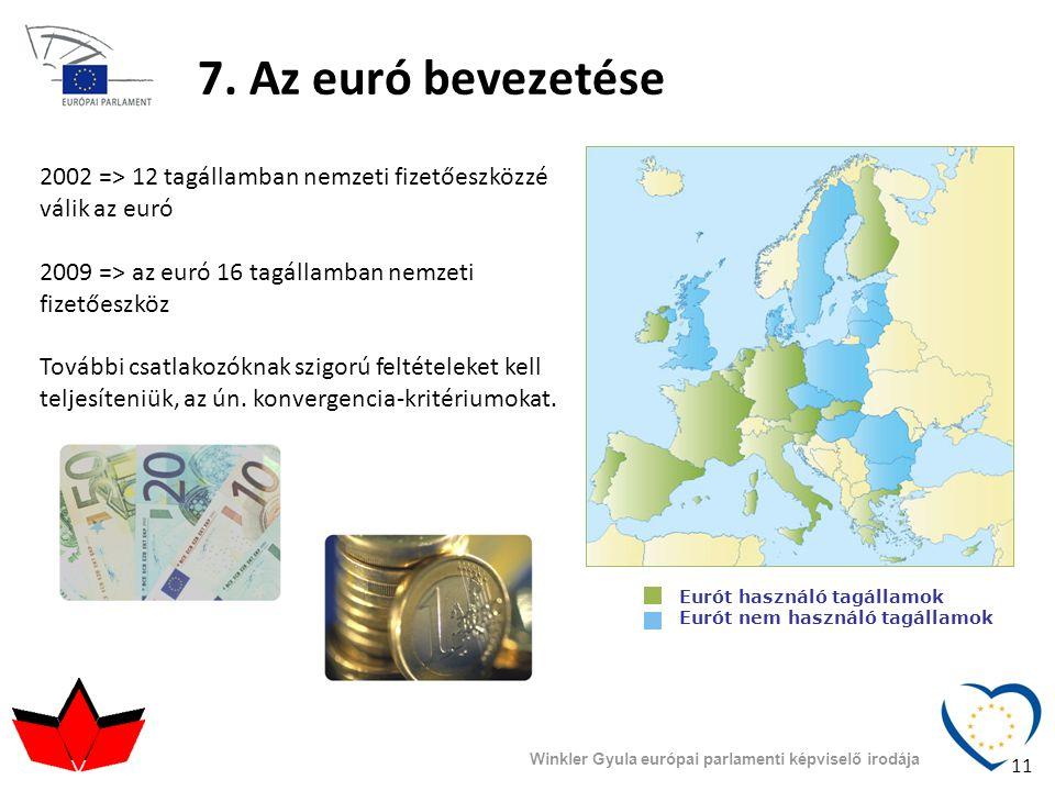 7. Az euró bevezetése Eurót használó tagállamok Eurót nem használó tagállamok 2002 => 12 tagállamban nemzeti fizetőeszközzé válik az euró 2009 => az e