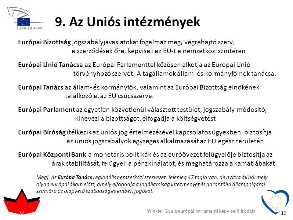 9. Az Uniós intézmények Európai Bizottság jogszabályjavaslatokat fogalmaz meg, végrehajtó szerv, a szerződések őre, képviseli az EU-t a nemzetközi szí