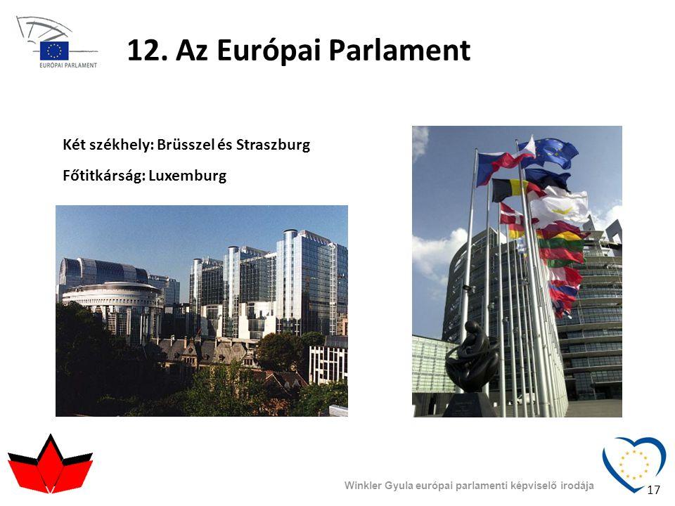 12. Az Európai Parlament Winkler Gyula európai parlamenti képviselő irodája Két székhely: Brüsszel és Straszburg Főtitkárság: Luxemburg 17