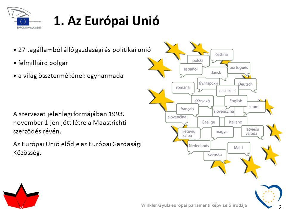 1. Az Európai Unió • 27 tagállamból álló gazdasági és politikai unió • félmilliárd polgár • a világ össztermékének egyharmada A szervezet jelenlegi fo