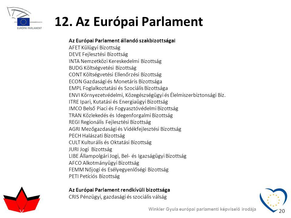 Winkler Gyula európai parlamenti képviselő irodája 12. Az Európai Parlament Az Európai Parlament állandó szakbizottságai AFET Külügyi Bizottság DEVE F