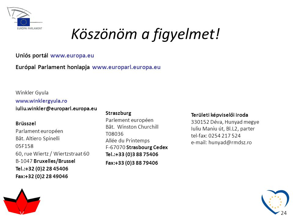 Köszönöm a figyelmet! Winkler Gyula www.winklergyula.ro iuliu.winkler@europarl.europa.eu Brüsszel Parlament européen Bât. Altiero Spinelli 05F158 60,