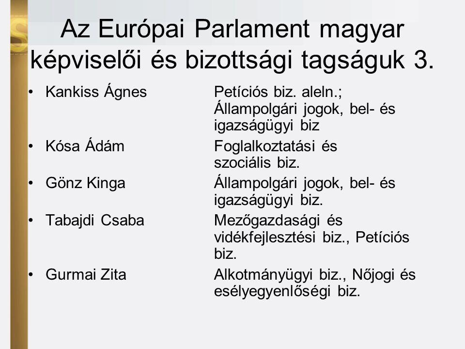 Az Európai Parlament magyar képviselői és bizottsági tagságuk 3.