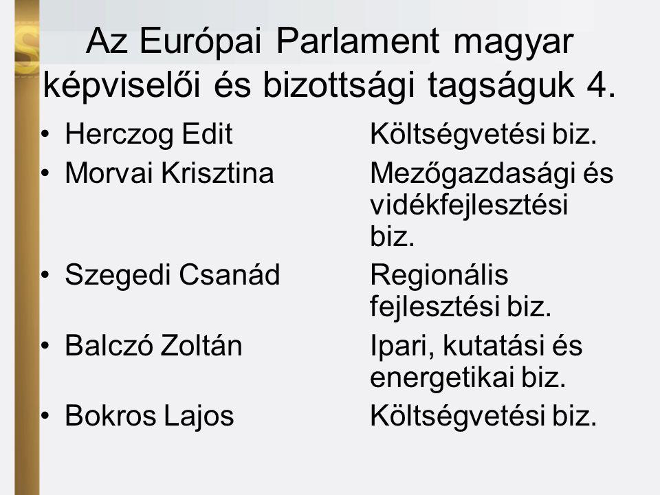 Az Európai Parlament magyar képviselői és bizottsági tagságuk 4.