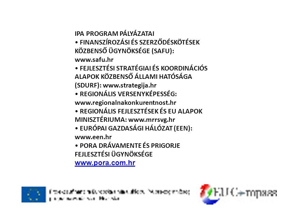 IPA PROGRAM PÁLYÁZATAI • FINANSZÍROZÁSI ÉS SZERZŐDÉSKÖTÉSEK KÖZBENSŐ ÜGYNÖKSÉGE (SAFU): www.safu.hr • FEJLESZTÉSI STRATÉGIAI ÉS KOORDINÁCIÓS ALAPOK KÖZBENSŐ ÁLLAMI HATÓSÁGA (SDURF): www.strategija.hr • REGIONÁLIS VERSENYKÉPESSÉG: www.regionalnakonkurentnost.hr • REGIONÁLIS FEJLESZTÉSEK ÉS EU ALAPOK MINISZTÉRIUMA: www.mrrsvg.hr • EURÓPAI GAZDASÁGI HÁLÓZAT (EEN): www.een.hr • PORA DRÁVAMENTE ÉS PRIGORJE FEJLESZTÉSI ÜGYNÖKSÉGE www.pora.com.hr www.pora.com.hr
