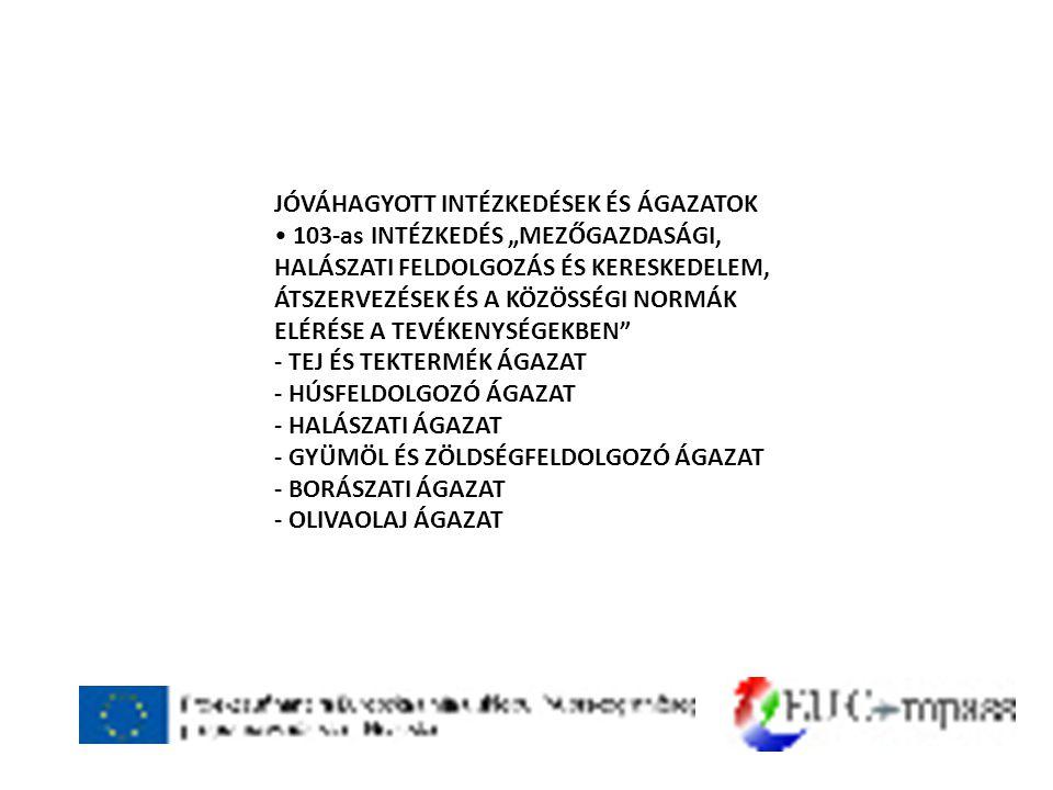"""JÓVÁHAGYOTT INTÉZKEDÉSEK ÉS ÁGAZATOK • 103-as INTÉZKEDÉS """"MEZŐGAZDASÁGI, HALÁSZATI FELDOLGOZÁS ÉS KERESKEDELEM, ÁTSZERVEZÉSEK ÉS A KÖZÖSSÉGI NORMÁK ELÉRÉSE A TEVÉKENYSÉGEKBEN - TEJ ÉS TEKTERMÉK ÁGAZAT - HÚSFELDOLGOZÓ ÁGAZAT - HALÁSZATI ÁGAZAT - GYÜMÖL ÉS ZÖLDSÉGFELDOLGOZÓ ÁGAZAT - BORÁSZATI ÁGAZAT - OLIVAOLAJ ÁGAZAT"""
