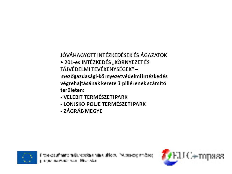 """JÓVÁHAGYOTT INTÉZKEDÉSEK ÉS ÁGAZATOK • 201-es INTÉZKEDÉS """"KÖRNYEZET ÉS TÁJVÉDELMI TEVÉKENYSÉGEK – mezőgazdasági-környezetvédelmi intézkedés végrehajtásának kerete 3 pillérenek számító területen: - VELEBIT TERMÉSZETI PARK - LONJSKO POLJE TERMÉSZETI PARK - ZÁGRÁB MEGYE"""