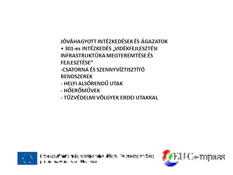 """JÓVÁHAGYOTT INTÉZKEDÉSEK ÉS ÁGAZATOK • 301-es INTÉZKEDÉS """"VIDÉKFEJLESZTÉSI INFRASTRUKTÚRA MEGTEREMTÉSE ÉS FEJLESZTÉSE -CSATORNA ÉS SZENNYVÍZTISZTÍTÓ RENDSZEREK - HELYI ALSÓRENDŰ UTAK - HŐERŐMŰVEK - TŰZVÉDELMI VÖLGYEK ERDEI UTAKKAL"""