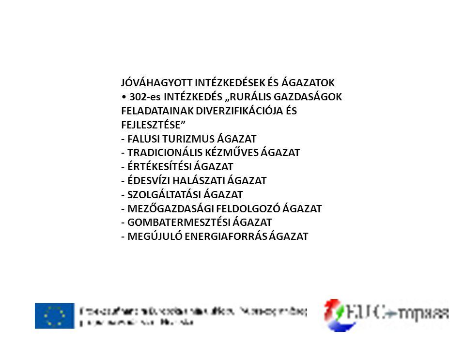 """JÓVÁHAGYOTT INTÉZKEDÉSEK ÉS ÁGAZATOK • 302-es INTÉZKEDÉS """"RURÁLIS GAZDASÁGOK FELADATAINAK DIVERZIFIKÁCIÓJA ÉS FEJLESZTÉSE - FALUSI TURIZMUS ÁGAZAT - TRADICIONÁLIS KÉZMŰVES ÁGAZAT - ÉRTÉKESÍTÉSI ÁGAZAT - ÉDESVÍZI HALÁSZATI ÁGAZAT - SZOLGÁLTATÁSI ÁGAZAT - MEZŐGAZDASÁGI FELDOLGOZÓ ÁGAZAT - GOMBATERMESZTÉSI ÁGAZAT - MEGÚJULÓ ENERGIAFORRÁS ÁGAZAT"""