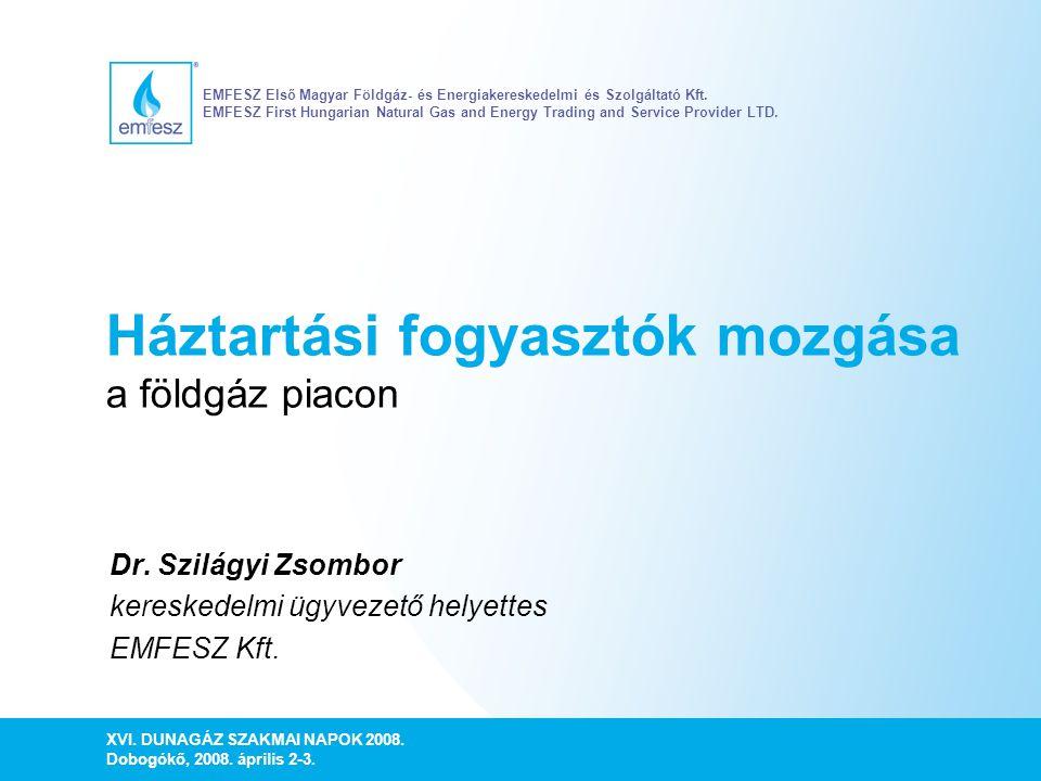 Háztartási fogyasztók mozgása a földgáz piacon Dr. Szilágyi Zsombor kereskedelmi ügyvezető helyettes EMFESZ Kft. XVI. DUNAGÁZ SZAKMAI NAPOK 2008. Dobo