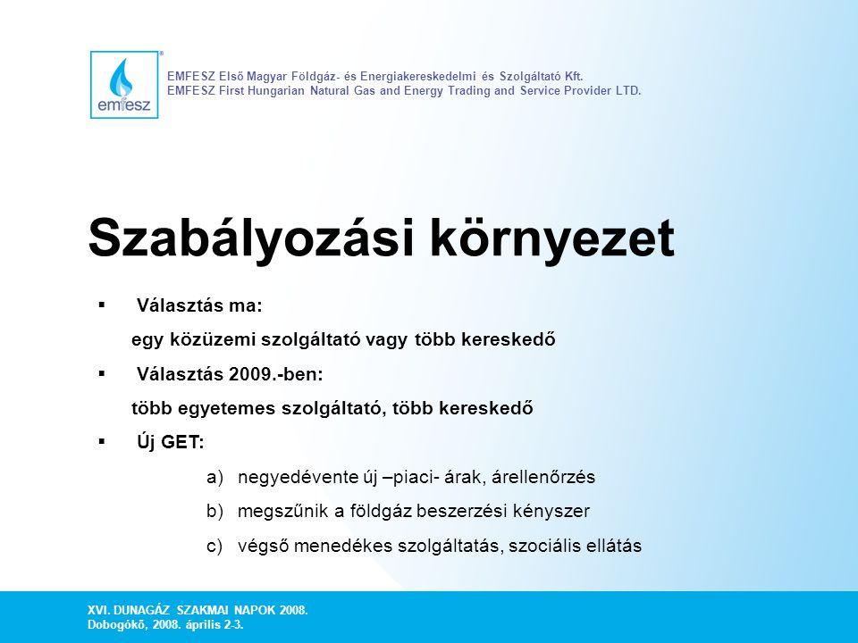 XVI. DUNAGÁZ SZAKMAI NAPOK 2008. Dobogókő, 2008. április 2-3. EMFESZ Első Magyar Földgáz- és Energiakereskedelmi és Szolgáltató Kft. EMFESZ First Hung