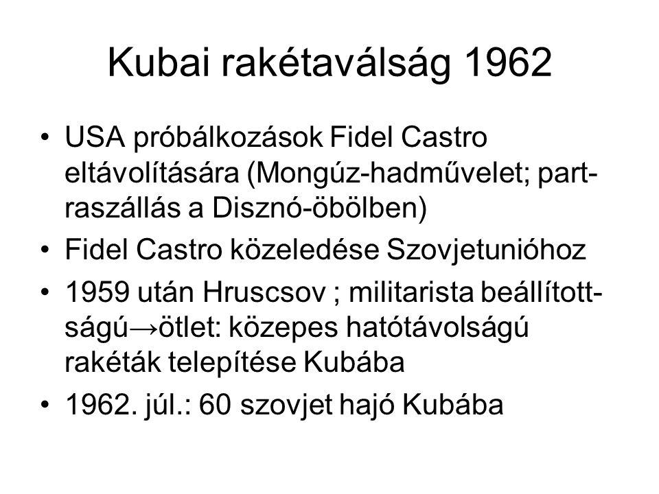 Kubai rakétaválság 1962 •USA próbálkozások Fidel Castro eltávolítására (Mongúz-hadművelet; part- raszállás a Disznó-öbölben) •Fidel Castro közeledése Szovjetunióhoz •1959 után Hruscsov ; militarista beállított- ságú→ötlet: közepes hatótávolságú rakéták telepítése Kubába •1962.