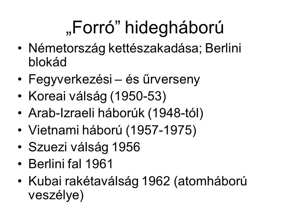 """""""Forró hidegháború •Németország kettészakadása; Berlini blokád •Fegyverkezési – és űrverseny •Koreai válság (1950-53) •Arab-Izraeli háborúk (1948-tól) •Vietnami háború (1957-1975) •Szuezi válság 1956 •Berlini fal 1961 •Kubai rakétaválság 1962 (atomháború veszélye)"""