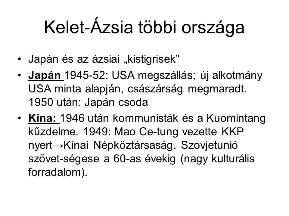 """Kelet-Ázsia többi országa •Japán és az ázsiai """"kistigrisek •Japán 1945-52: USA megszállás; új alkotmány USA minta alapján, császárság megmaradt."""