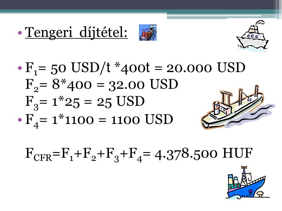 •Tengeri díjtétel: •F 1 = 50 USD/ t *400 t = 20.000 USD F 2 = 8*400 = 32.00 USD F 3 = 1*25 = 25 USD •F 4 = 1*1100 = 1100 USD F CFR =F 1 +F 2 +F 3 +F 4