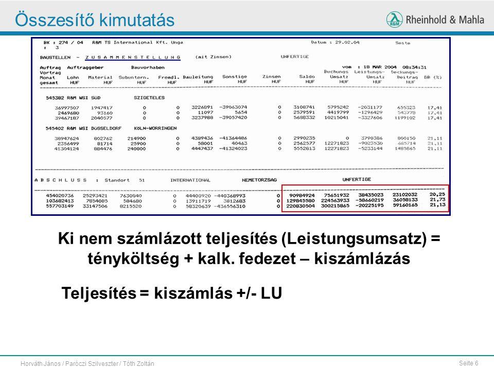Seite 6 Horváth János / Paróczi Szilveszter / Tóth Zoltán Összesítő kimutatás Ki nem számlázott teljesítés (Leistungsumsatz) = tényköltség + kalk. fed