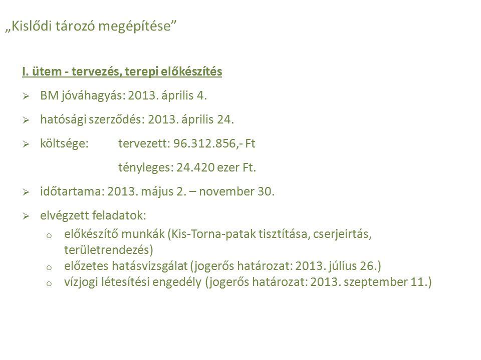 """""""Kislődi tározó megépítése"""" I. ütem - tervezés, terepi előkészítés  BM jóváhagyás: 2013. április 4.  hatósági szerződés: 2013. április 24.  költség"""