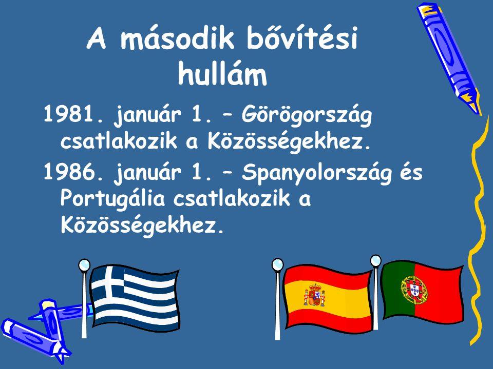 A második bővítési hullám 1981. január 1. – Görögország csatlakozik a Közösségekhez. 1986. január 1. – Spanyolország és Portugália csatlakozik a Közös