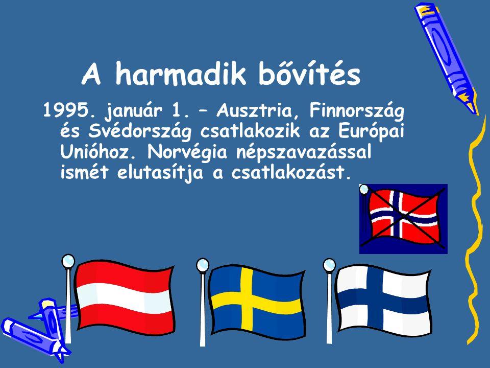 A harmadik bővítés 1995. január 1. – Ausztria, Finnország és Svédország csatlakozik az Európai Unióhoz. Norvégia népszavazással ismét elutasítja a csa