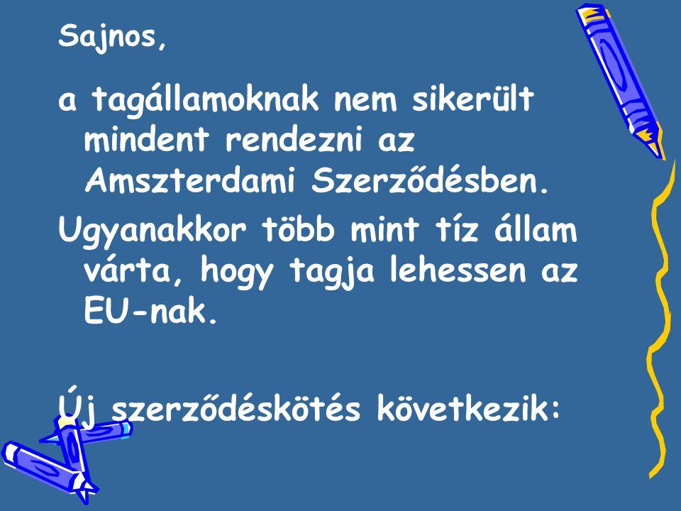 Sajnos, a tagállamoknak nem sikerült mindent rendezni az Amszterdami Szerződésben.