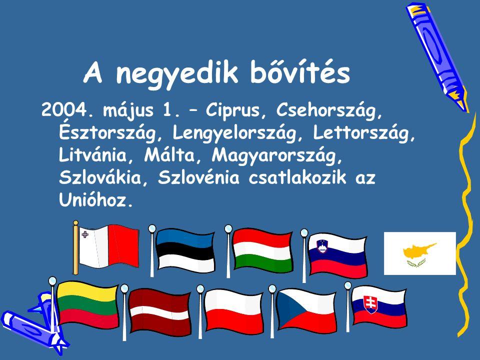 A negyedik bővítés 2004. május 1. – Ciprus, Csehország, Észtország, Lengyelország, Lettország, Litvánia, Málta, Magyarország, Szlovákia, Szlovénia csa