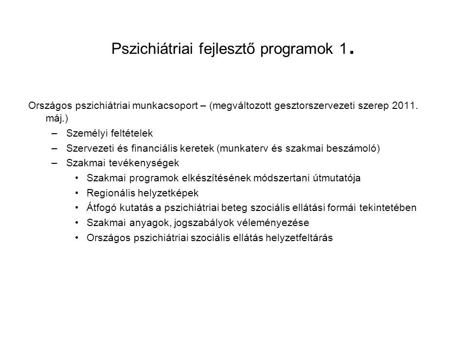 Pszichiátriai fejlesztő programok 1. Országos pszichiátriai munkacsoport – (megváltozott gesztorszervezeti szerep 2011. máj.) –Személyi feltételek –Sz