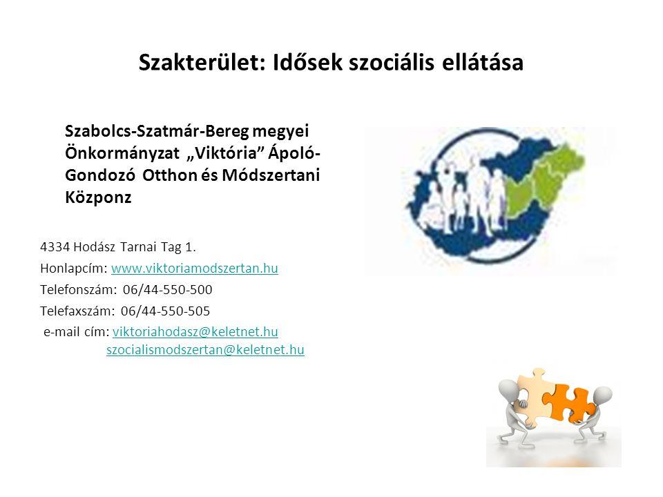 """Szakterület: Pszichiátriai betegek szociális ellátása Szabolcs-Szatmár-Bereg megyei Önkormányzat """"Viktória Ápoló- Gondozó Otthon és Módszertani Közponz 4334 Hodász Tarnai Tag 1."""