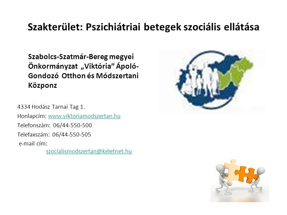 """Szakterület: Pszichiátriai betegek szociális ellátása Szabolcs-Szatmár-Bereg megyei Önkormányzat """"Viktória"""" Ápoló- Gondozó Otthon és Módszertani Közpo"""