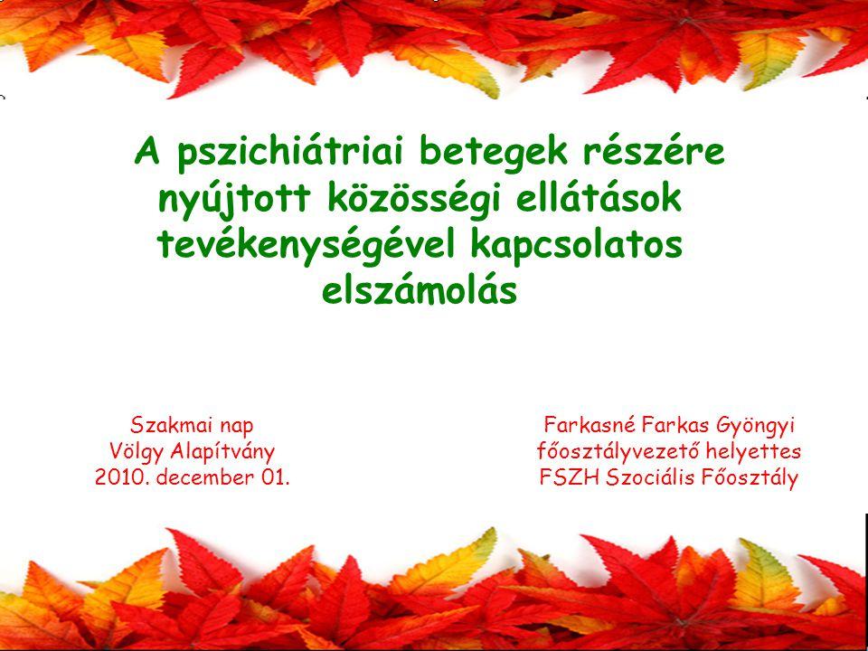 Farkasné Farkas Gyöngyi főosztályvezető helyettes FSZH Szociális Főosztály A pszichiátriai betegek részére nyújtott közösségi ellátások tevékenységével kapcsolatos elszámolás Szakmai nap Völgy Alapítvány 2010.
