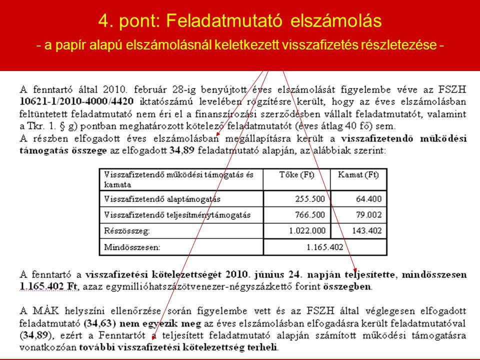 4. pont: Feladatmutató elszámolás - a papír alapú elszámolásnál keletkezett visszafizetés részletezése -