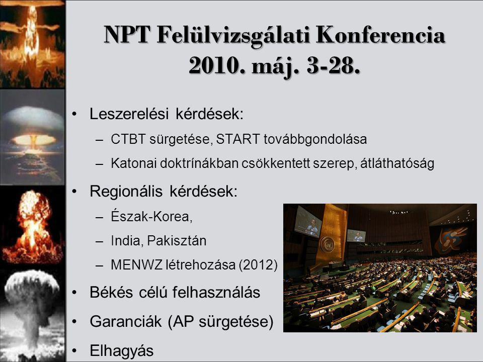 NPT Felülvizsgálati Konferencia 2010. máj. 3-28. •Leszerelési kérdések: –CTBT sürgetése, START továbbgondolása –Katonai doktrínákban csökkentett szere