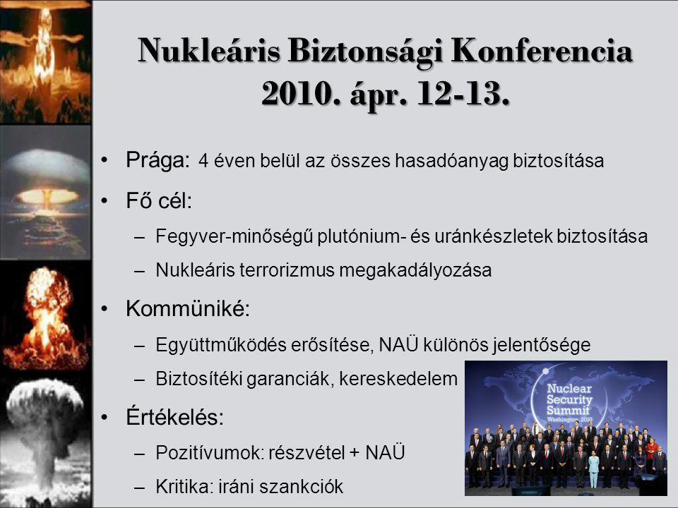 Nukleáris Biztonsági Konferencia 2010. ápr. 12-13. •Prága: 4 éven belül az összes hasadóanyag biztosítása •Fő cél: –Fegyver-minőségű plutónium- és urá