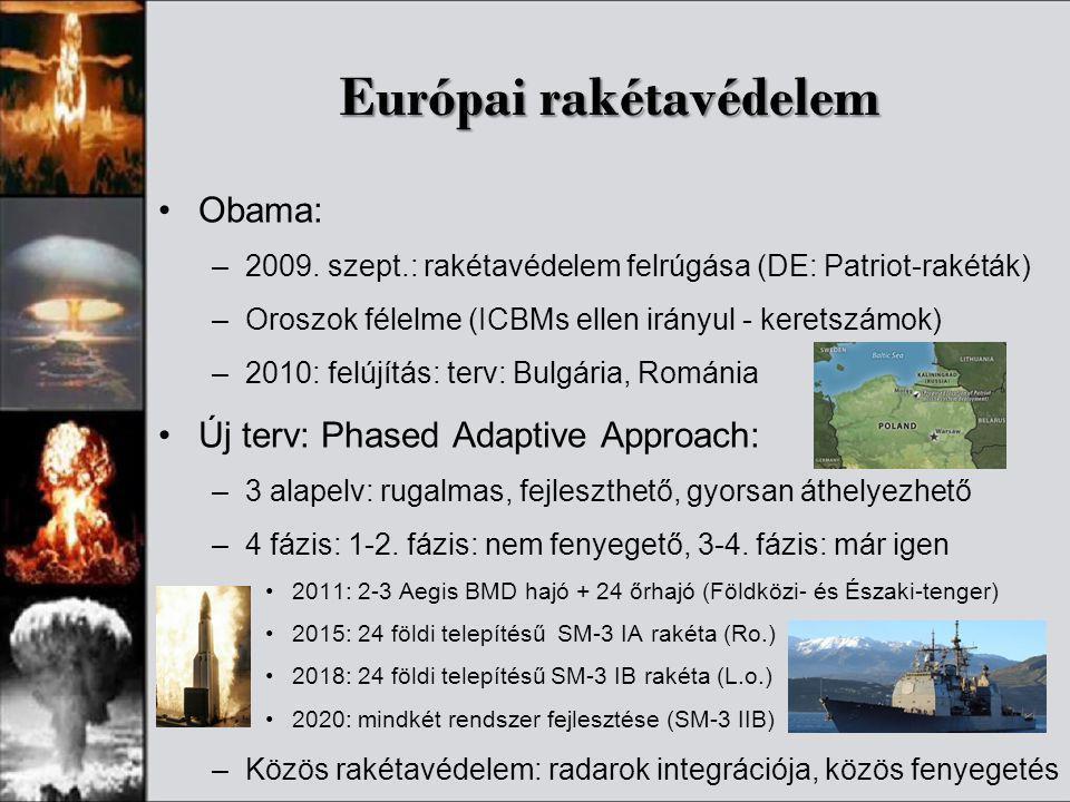 Európai rakétavédelem •Obama: –2009. szept.: rakétavédelem felrúgása (DE: Patriot-rakéták) –Oroszok félelme (ICBMs ellen irányul - keretszámok) –2010: