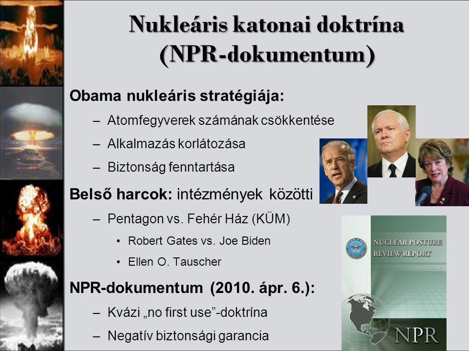 Nukleáris katonai doktrína (NPR-dokumentum) Obama nukleáris stratégiája: –Atomfegyverek számának csökkentése –Alkalmazás korlátozása –Biztonság fennta
