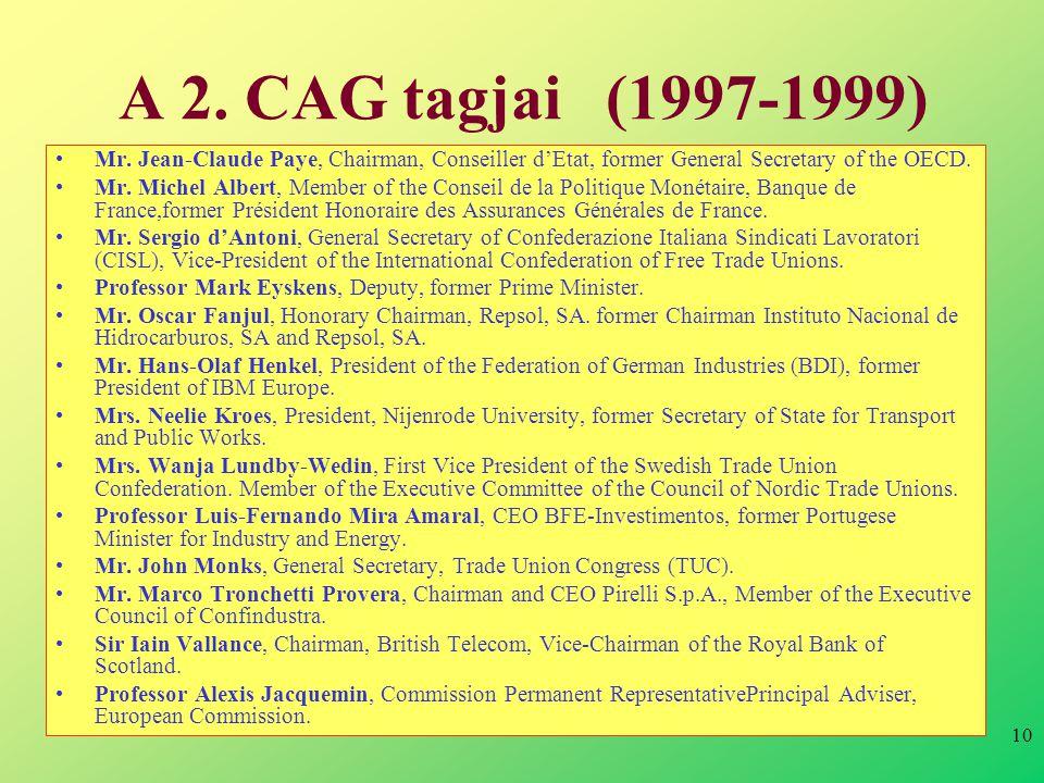 10 A 2. CAG tagjai (1997-1999) •Mr.