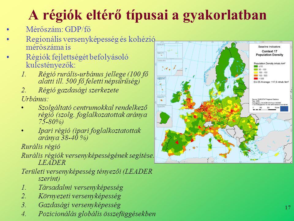 17 A régiók eltérő típusai a gyakorlatban •Mérőszám: GDP/fő •Regionális versenyképesség és kohézió mérőszáma is •Régiók fejlettségét befolyásoló kulcstényezők: 1.Régió rurális-urbánus jellege (100 fő alatti ill.