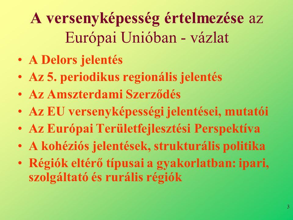 3 A versenyképesség értelmezése az Európai Unióban - vázlat •A Delors jelentés •Az 5.