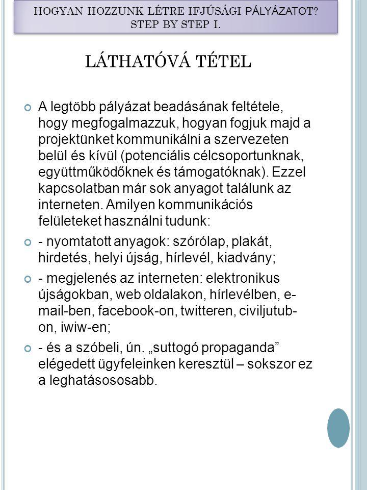 HOGYAN HOZZUNK LÉTRE IFJÚSÁGI PÁLYÁZATO T.STEP BY STEP I.