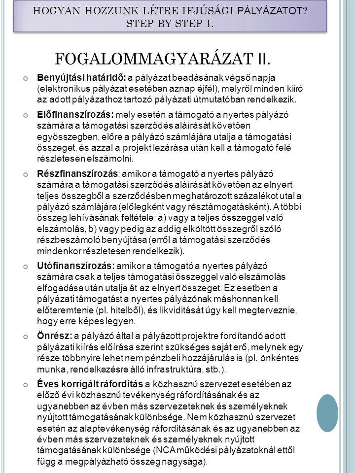 HOGYAN HOZZUNK LÉTRE IFJÚSÁGI PÁLYÁZAT OT.STEP BY STEP I.