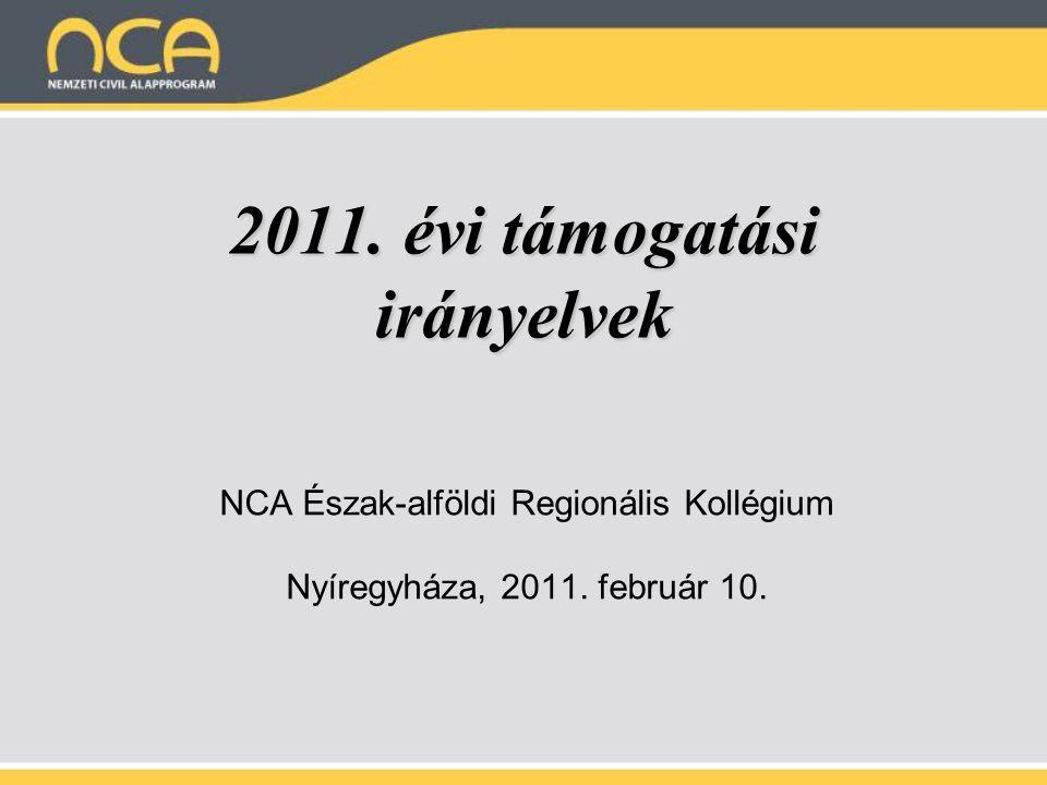 2011. évi támogatási irányelvek NCA Észak-alföldi Regionális Kollégium Nyíregyháza, 2011.