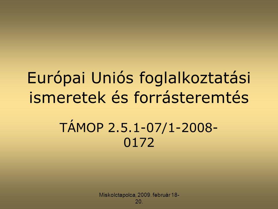 Miskolctapolca, 2009. február 18- 20. Európai Uniós foglalkoztatási ismeretek és forrásteremtés TÁMOP 2.5.1-07/1-2008- 0172